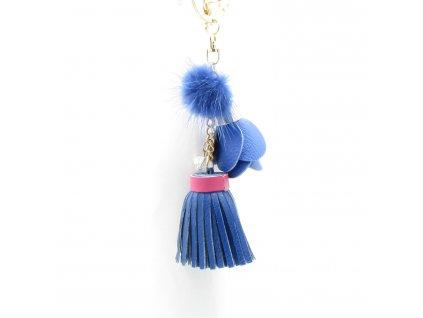 Přívěsek - klíčenka - střapec s pomponem - modrý