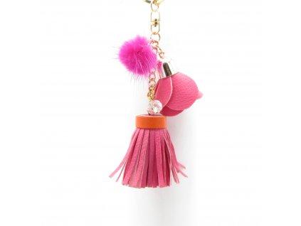 Přívěsek - klíčenka - střapec s pomponem - růžový