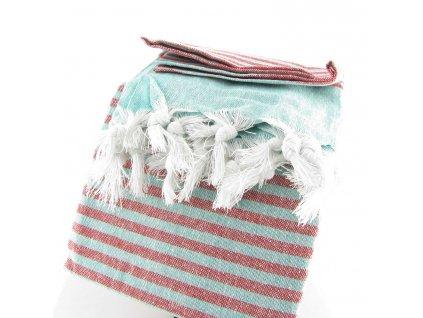 Pestemal - hammam osuška - modročervená