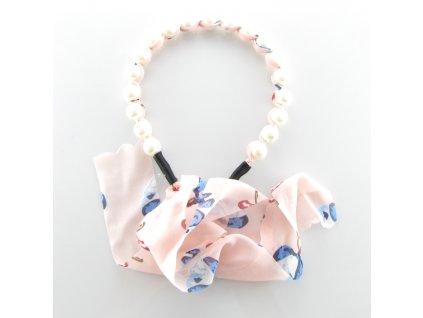 Čelenka do vlasů s perlami - Růžový motýlek