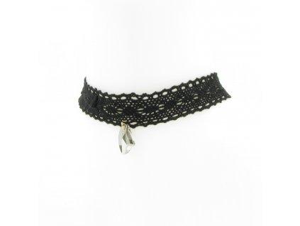 Choker - černý krajkový s kamínkem