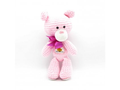 Háčkovaný medvídek Smilargan - růžový