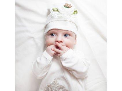 Kojenecká čepička Ceren - bílá s květinou